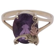 10K Black Hills Gold Amethyst Ring Size 8