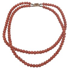 Double Strand 5.5mm Natural Coral Bead 14K Clasp Necklace