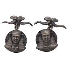 Vintage Sterling Silver Egyptian Figural Cufflinks