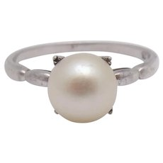 Mikimoto Sterling Silver Akoya Cultured 7.5mm Pearl Ring