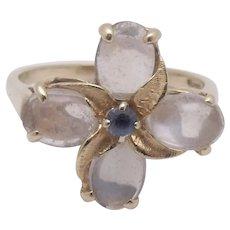 14K Gold Moonstone Sapphire Ring Sz 9.25