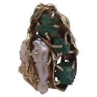 14K Modernist Abstract Pearl Raw Emerald Ring Sz 7