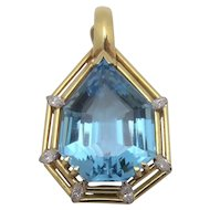 18K Gold 16.0 ct Blue Topaz .30 ctw Diamond Slide Pendant