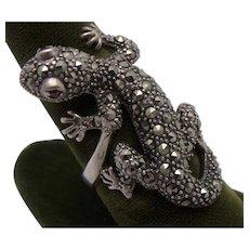 Sterling Silver Marcasite Garnet Lizard Gecko Ring Sz 8