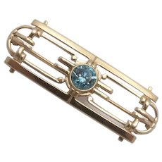 14K Yellow Gold Natural Blue Zircon Pin