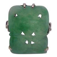 14K Carved Green Jade Panel Ring Sz 5.5