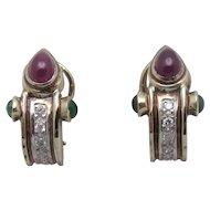 14K Ruby Emerald Cabochon Diamond Omega Earrings