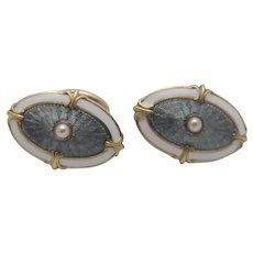 14K Gold Enameled Cufflinks by Wordley, Allsopp & Bliss