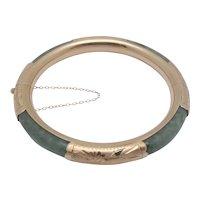 14K Yellow Gold Green Jade Hinged Bangle Bracelet 29.2g