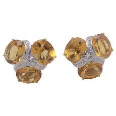18K Yellow Gold Citrine & Diamond Earrings Omega Clip