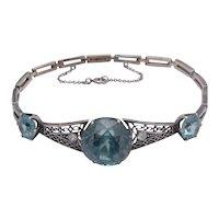 14K White Gold Natural Blue Zircon & Diamond Bracelet