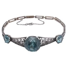 14K White Gold Natural Blue Zircon & Diamond Bracelet