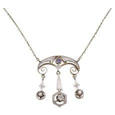 14K Gold Antique Diamond Sapphire Lavalier Necklace ca 1900