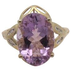 10K Yellow Gold 4.89ct Amethyst & Diamond Ring Size 7