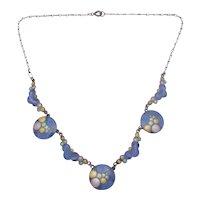 Rare Eisenberg Sterling Silver Enamel Blue Bubble Necklace