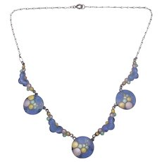 Rare Eisenberg Sterling Silver Enamel Blue Bubble Necklace