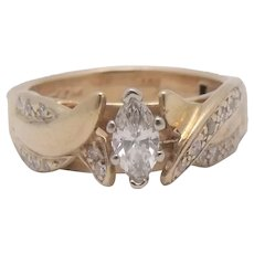 14K Super Fit Arthritis Diamond Wedding Ring .40ctw Size 6