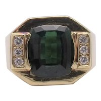 18K Gold Tourmaline & Diamond Ring 14.4g