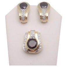 Custom 14K Gold Garnet Diamond Pendant Earrings Set 35.5g