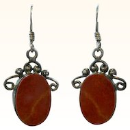 Vintage Red Jasper Sterling Silver Earrings Dangle