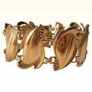 Vintage Leaves Bracelet Art Nouveau Revival Gilt Silver