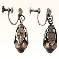 Vintage Mexico Corn Earrings Sterling Silver 1940s Figural