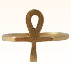 Ankh Ring 10K Gold Egyptian Revival Vintage Size 6