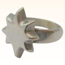 Vintage Star Celestial Ring Sterling Silver Size 8