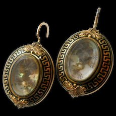 Antique Mourning Earrings 14K Gold Crystal Greek Key