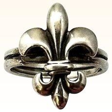 Fleur de Lis Ring Sterling Silver Vintage Figural