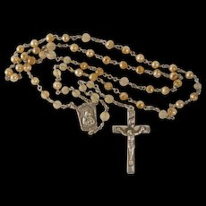 Vintage Rosary Creed Cross Sterling Silver Art Glass Beads - Red Tag Sale Item