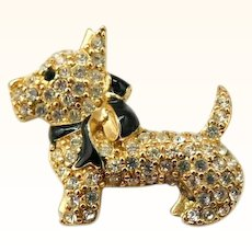 Vintage Scottie Dog Brooch Pin Monet Rhinestones