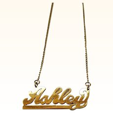Ashley Nameplate Necklace Vintage Gold Filled