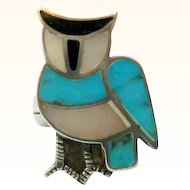 Vintage Owl Turquoise Sterling Silver Ring Inlay Size 5