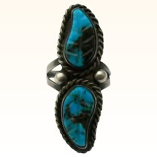 Vintage Turquoise Sterling Silver Ring Carved Leaves Southwestern Style