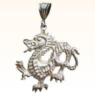 Vintage Dragon Pendant Sterling Silver Figural