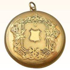 14K Yellow Gold Locket Shield Pendant Vintage