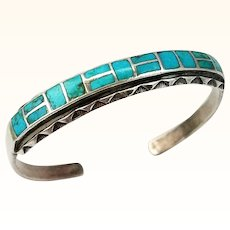 Vintage Turquoise Sterling Silver Bracelet Cuff Inlay Southwestern Style