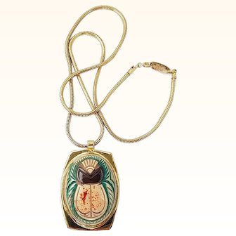 Whiting Davis Scarab Pendant Necklace Egyptian Revival