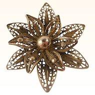 Cannetille Flower Brooch Pin Vintage Silver 990 Fine
