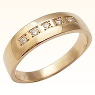 Vintage Diamond Wedding Ring 14K Yellow Gold Size 9