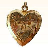 Vintage Heart Locket Charm Pendant Gold Filled
