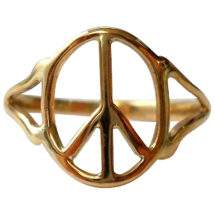 Vintage Peace Sign Ring 10k Gold Retro Size 9 Sold Ruby Lane