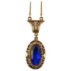 Art Deco Pendant Choker Necklace Blue Rhinestone Wedding Necklace - Red Tag Sale Item