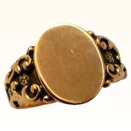Antique 14K Rose Gold Signet Ring Victorian Blank