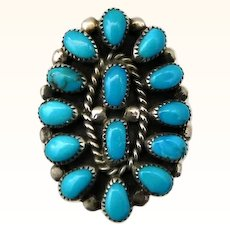 Vintage Turquoise Cluster Ring Sterling Silver Navajo