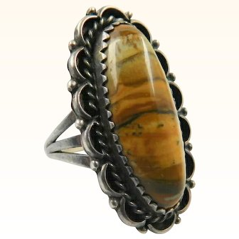 Petrified Wood Agate Sterling Silver Ring Vintage Southwestern Style