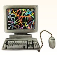 JJ Computer Mouse Brooch Pin Pewter Vintage Figural
