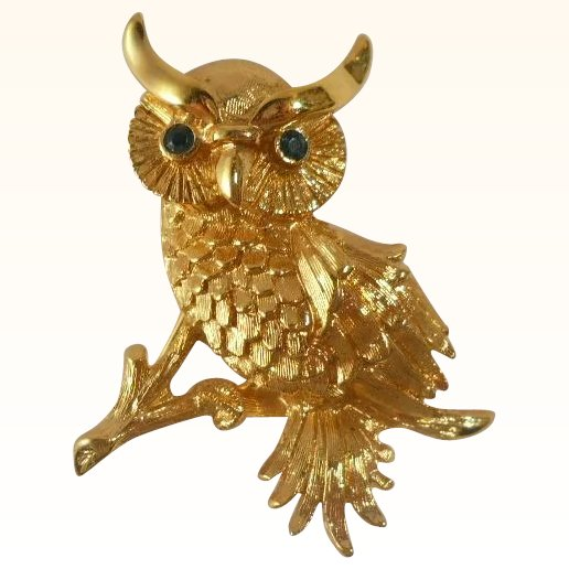 Vintage monet owl figural brooch pin suzy 39 s timeless for 51090 text