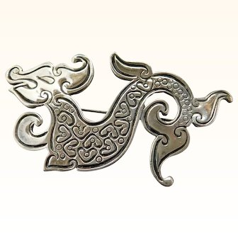 Napier Chinese Dragon Brooch Pin Silverplated Vintage Book Piece